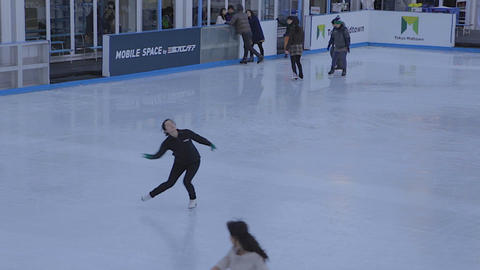 Japanese Lady Performing Ice Skate Pin stock footage
