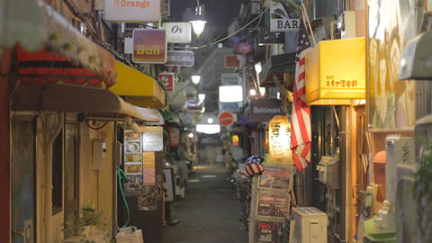 many bars in the alley - night Shinjuku Golden Gai Footage