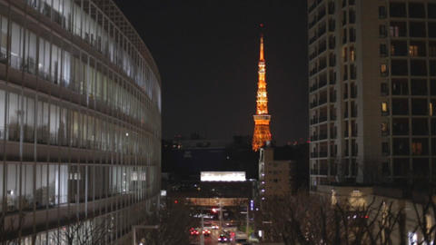 night - Tokyo tower seen from Roppongi hills Live影片