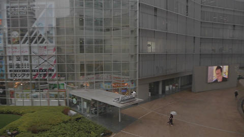 pan of Park by Tv Asahi to Roppongi hills towers Live Action