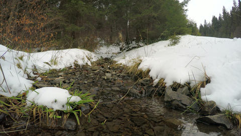 4k, The snow melts, the creek flows (timelapse) Footage