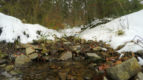 4k, The Snow Melts, The Creek Flows (timelapse) stock footage