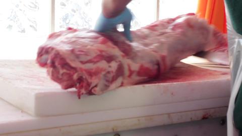 Butcher Chops Big Piece of Meat Live Action