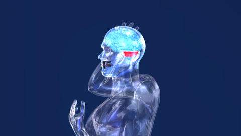 Hologram Male headaches medical HD Footage