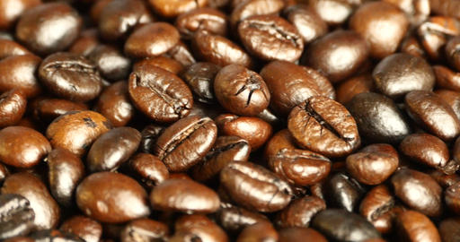 4k Coffee Beans Closeup,drinks Caffeine Food Raw Material,delicious Dishes Bean stock footage