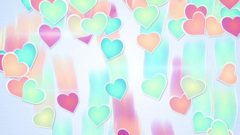 multicolor hearts falling loopable background Animation
