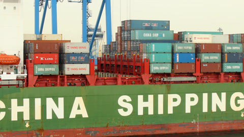 Container Ship In Port stock footage