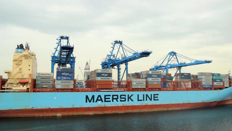 Container Ship in port Footage