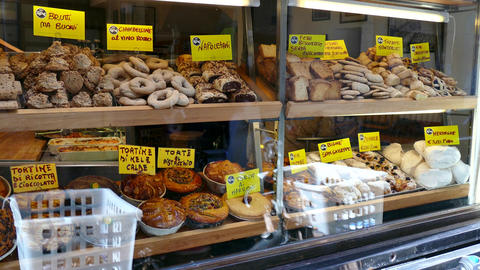 Shop Bakery Bread Cakes Food Rome Italy Mediterranean Diet Footage