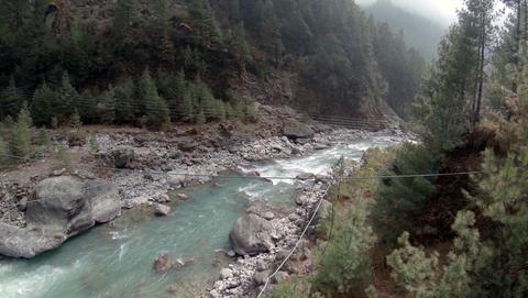 2.7K. Mountain river. Melting glacier Ngozumpa, Himalayas, Nepal. Full HD. 2704x Footage