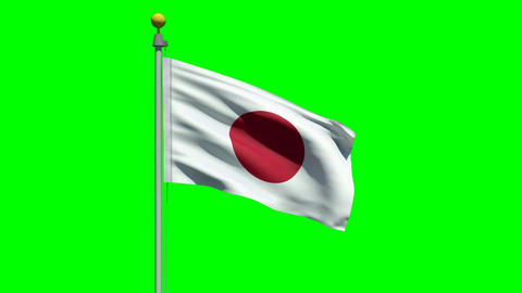Waving flag of Japan Animation