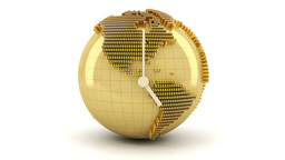 3d animation of clock with golden globe formed by dollar signs Animation