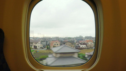 Looking Through The Window Onboard A High Speed Train In Japan (Shinkansen) stock footage