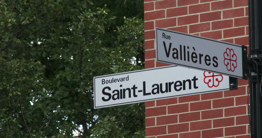 Street signs in Montreal Footage