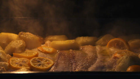 Baking Fish stock footage