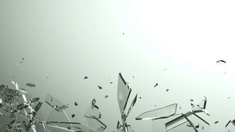 Glass breaking and destruction with slow motion. Alpha Animation