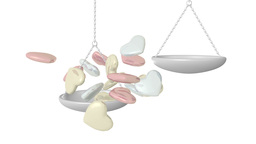 Love tips the balance - beautiful shiny hearts spill into weighing scales Animation