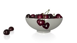 Deep Red Cherries Tumbling Into A Bowl stock footage
