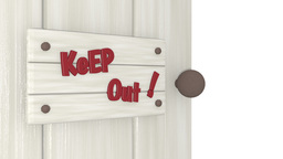 Door slamming shut with 'Keep Out' sign on it Animation