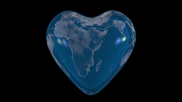 Beautiful spinning glass globe becomes heart-shaped Stock Video Footage