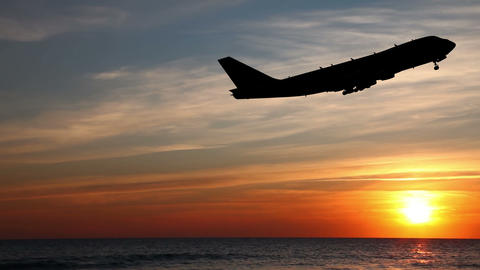 Airplane Take Off Silhouette stock footage