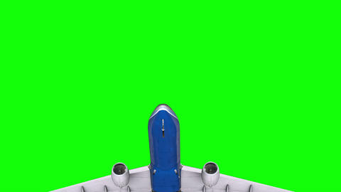 Passenger plane in the sky on a green screen Animation