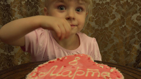 Funny Little Girl Birthday Cake. 4K, UHD, Ultra HD resolution Footage