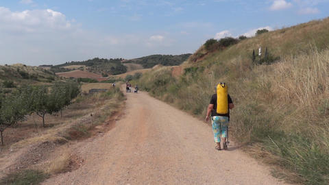 Pilgrim on the Camino de Santiago 28 Footage