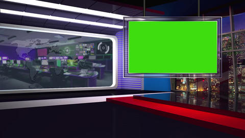 News TV Studio Set 62 Virtual Green Screen Background Loop stock footage