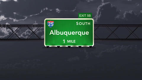4K Passing Albuquerque USA Interstate Highway Road Sign with Matte 1 neutral Animation