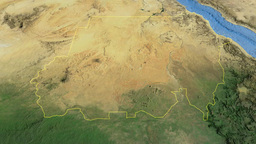 Sudan, glide over the map, outlined Animation