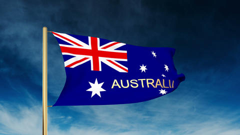 Australia flag slider style with title. Waving in the wind with cloud background Animation