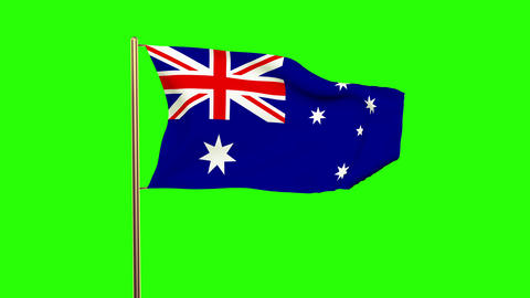 Australia flag waving in the wind. Green screen, alpha matte. Loopable animation Animation