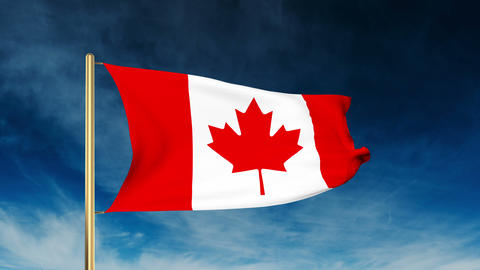 Canada flag waving in the wind. Green screen, alpha matte. Loopable Animation