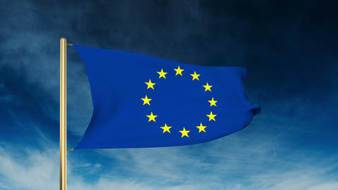 Europe flag slider style. Waving in the win with cloud background Animation