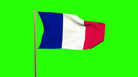 France flag waving in the wind. Green screen, alpha matte. Loopable Animation