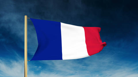 France flag slider style. Waving in the win with cloud background Animation