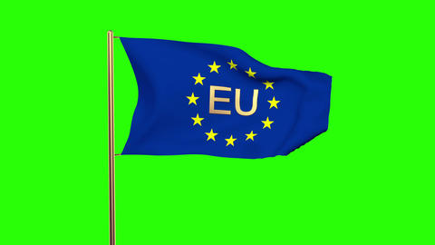 Europe Flag With Title EU Waving In The Wind. Looping Sun Rises Style. Animation stock footage