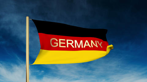 Germany flag slider style with title Germany. Waving in the win with cloud backg Animation