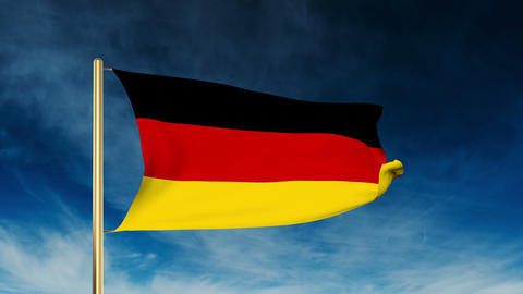 Germany flag slider style. Waving in the win with cloud background Animation