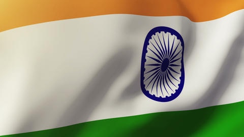 India flag waving in the wind. Looping sun rises style. Animation loop Animation
