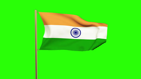 India flag waving in the wind. Green screen, alpha matte. Loopable Animation