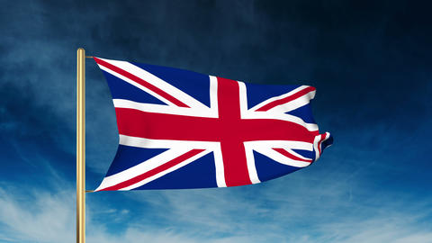 United Kingdom flag slider style. Waving in the win with cloud background Animation