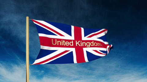 United Kingdom flag slider style with title United Kingdom. Waving in the win wi Animation