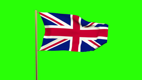 United Kingdom flag waving in the wind. Green screen, alpha matte. Loopable Animation