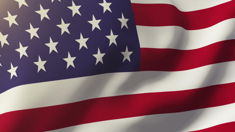 United States Flag Waving In The Wind. Looping Sun Rises Style. Animation Loop stock footage
