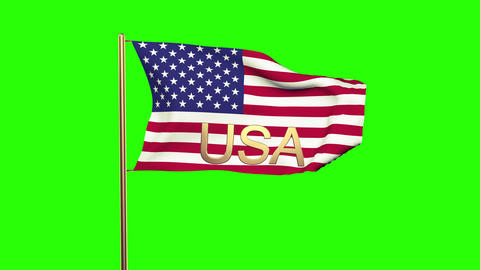 United States Flag With Title USA Waving In The Wind. Looping Sun Rises Style. A stock footage