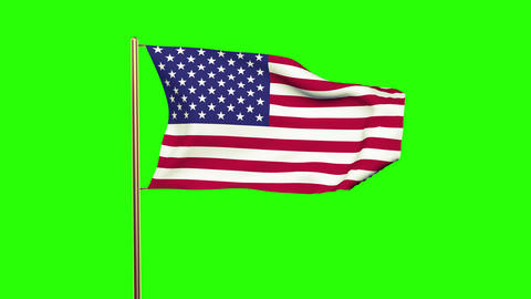 United states flag waving in the wind. Green screen, alpha matte. Loopable Animation