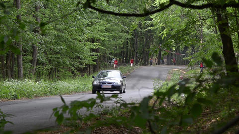 Rally cars in the forest in summer 06 Footage