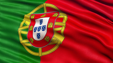 4K Flag of Portugal seamless loop Ultra-HD Animation